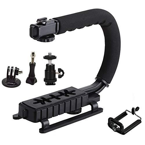 #N/V Estabilizador de cámara de mano de vídeo portátil en forma de U con soporte extraíble tipo C para zapata caliente