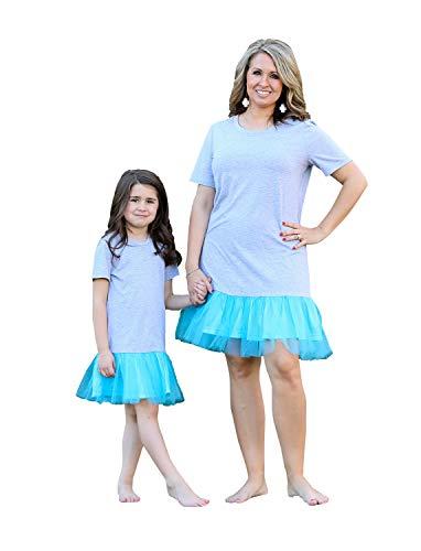 Brede moeder dochter jurken familie moeder dochter bijpassende outfits mesh pure kleur gaas jurken