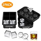 Ice Cube Trays, Adoric Sphere Ice Cube Molds Set of 2, Silicone Ice Ball Maker with Lid & Large...