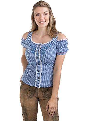 Schöneberger Trachten Couture Trachtenbluse Alpenklee - Elegante, Karierte Bluse im Carmenstil mit Stickereien - tailliert & verstellbar (46, Blau/Weiss)