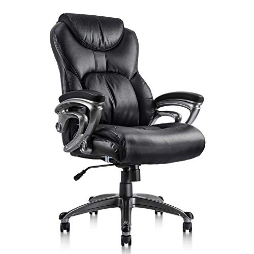 VIVA OFFICE Executive Chair Bonded Leather High Back Computer Chair With Thick Padded Headrest, Armrest and Seat