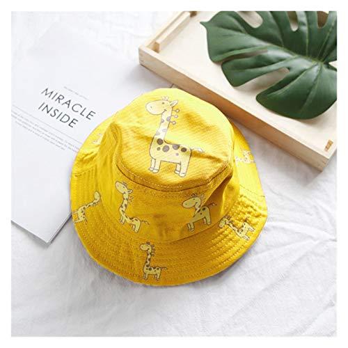 LIANGLMY Sombrero Sping Verano niños Cubo Sombrero Chico niña Primavera Verano Linda Jirafa Suave algodón al Aire Libre Playa Sol Sombrero niños Panama (Color : Yellow)