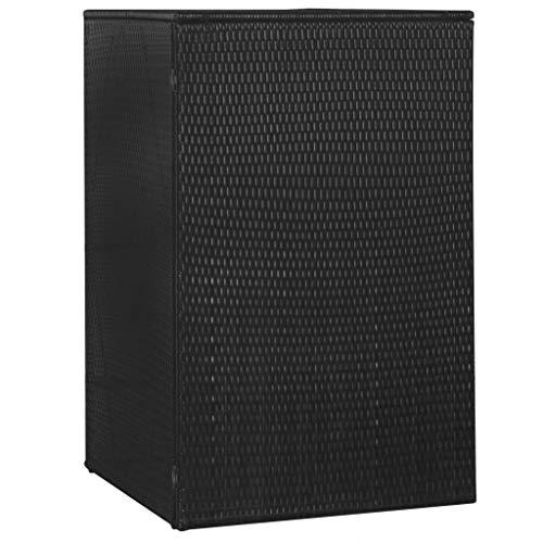 vidaXL Mülltonnenbox für 1 Tonne Mülltonnenverkleidung Müllbox Müllcontainer Gartenbox Gerätebox Schwarz 76x78x120cm Poly Rattan Stahl