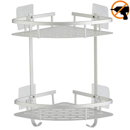 Hawsam No Drilling Bathroom Corner Shelves, Aluminum 2 Tier Shower Shelf Caddy Adhesive Storage Basket for Shampoo (Corner)