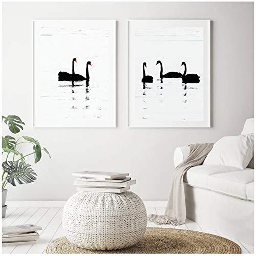 HHONG Arte Pared nórdico Cartel Blanco y Negro Lienzo Pintura Cisne impresión decoración del hogar habitación guardería galería 60x80cm/23.6'x31.4 x2 sin Marco