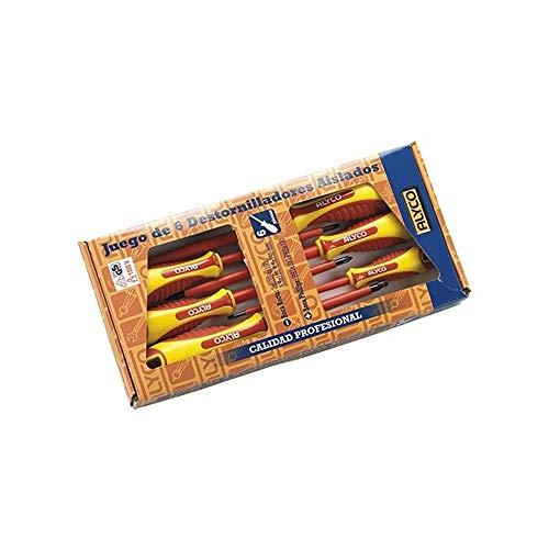 ALYCO 119330 119330-Juego 6 Destornilladores aislados VDE en Caja de Carton, Negro