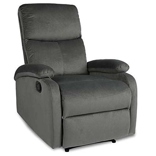 Recliner Chair,Recliners for Small Spaces,Fabric Recliner Sofa Chair Theater Seating Living Room Reclining Chair,Sillon Reclinable para Adulto,2 Points Massage,Grey