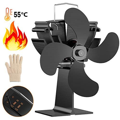 Mini Kaminventilator, 4-flügeliger Ofenventilator, Dr.meter Kamin Ventilator für Holz- / Holzbrenner oder Kamin mit freundlichem Temp Pad & Handschuh, leise 15 dB zirkulieren warme/erwärmte Luft