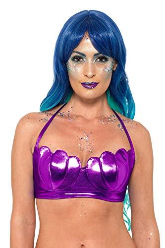 Smiffys 47556 - Sujetador de Bikini con diseño de Sirena, Color Morado y Talla XS (Talla Mediana), Color Morado