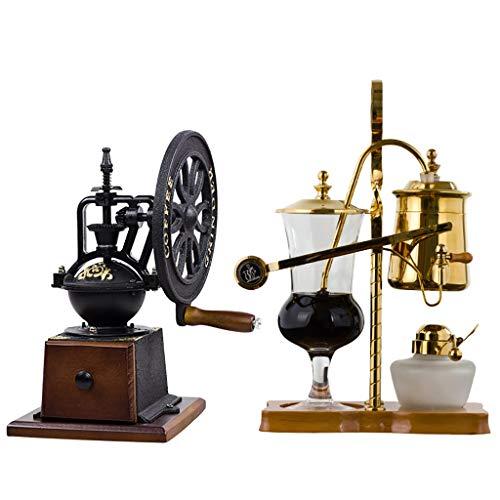 Vakuum-Kaffeebereiter Siphon Kaffeemaschine Set Royal Belgische Kaffeemaschine Geschenkbox Gold/Silber, 3 Tassen (Farbe : A)