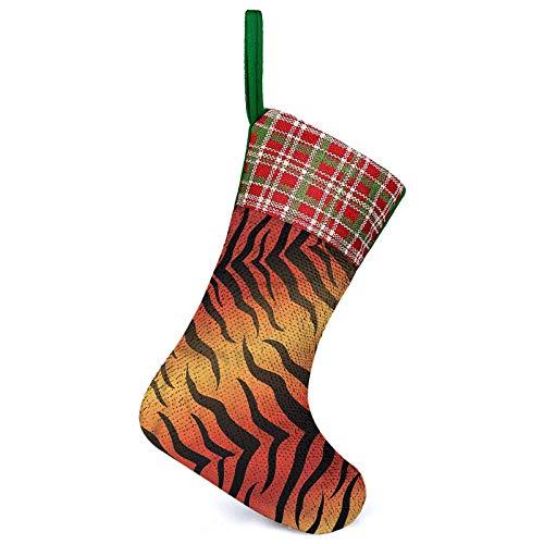 Calcetines 3D Bolsas de regalo de piel de tigre abstracta sofisticada, pero divertida decoración para decoraciones de Navidad