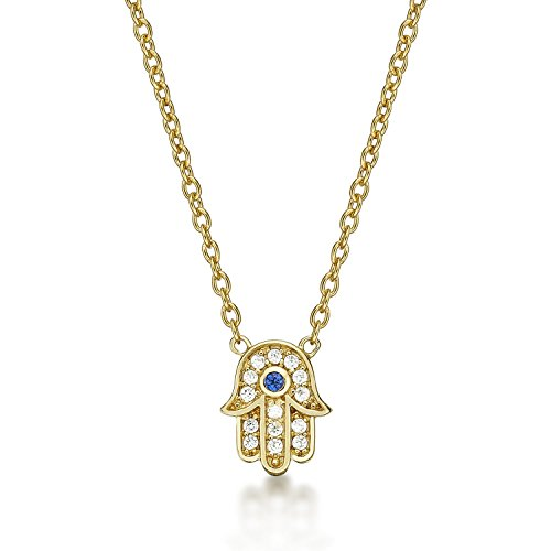 Diamond Treats Yellow Gold Hamza Hand Necklace in 925 STERLING SILVER for Women, 18K Gold Plated set with Sparkling Cubic Zirconia. Gold Ladies Pendant & Chain. The Perfect Gift for Women.