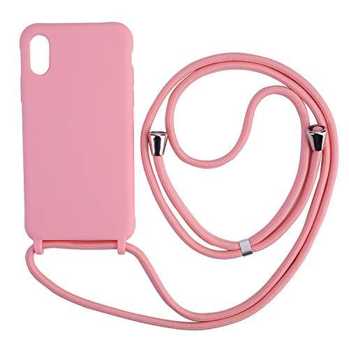 Ququcheng Funda Compatible con iPhone 7 Plus/8 Plus,Ajustable Collar Correa de Cuello Cordón Cuerda Carcasa TPU Bumper Silicona Skin Caso para iPhone 7 Plus/8 Plus-Pink