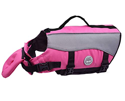 Vivaglory Dog Life Saver Dog Life Jackets with Extra Padding for Dogs, Small - Pink