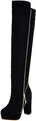 Oudan Bottes Femmes Chaussures Chaussures Décontractées Tête Ronde épaisse Haute Qualité Antidérapante Haute Qualité Au-Dessus du Genou Bottes Femme Bottes Bottes élégantes Bottines