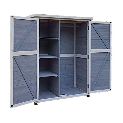 Trädgårdsskjul Utomhusförråd, Väderbeständigt verktygsskåp, Används för verktyg, utrustning för gräsmatta, pooltillbehör och trädgårdstillbehör Dubbel dörr trädgård lagring skjul