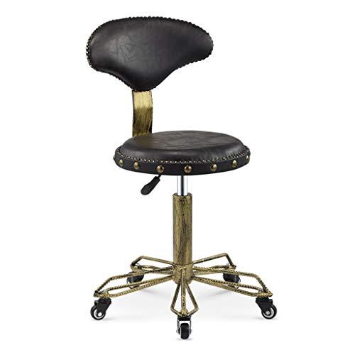 Silla giratoria retro de comedor / oficina con patas cromadas con ruedas y elevador, silla de escritorio para computadora ajustable de 44 ~ 59 cm para cocina Bar Salon Spa Clinic Máx. Carga 440lb