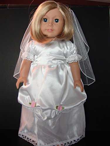 Amazing New Wedding or Confirmation Dress with Veil Designed for 18 Inch Doll Like The American Girl Dolls