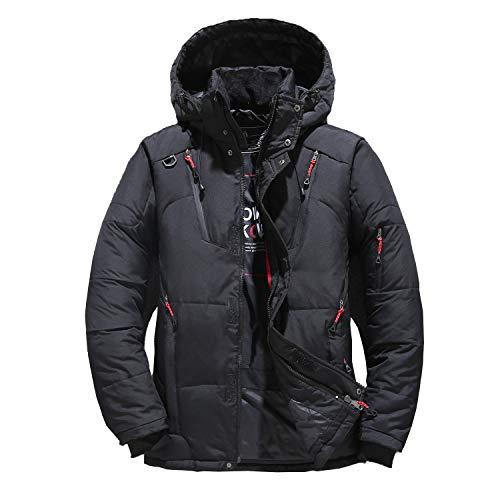 SAMI STUDIO Winter Snow Coat Thicken Outwear Down Coat Parka Jacket with Detachable Hood (Black,5XL)