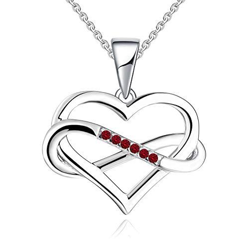 JO WISDOM Collares Colgante Plata de ley 925 Corazón Infinito Cristales Swarovski 3A Circonita Piedra natal de Enero Color Granate Mujer Joyería