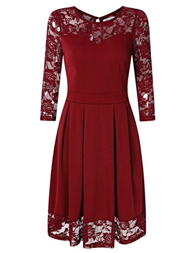 KOJOOIN Damen Elegant Kleider Spitzenkleid Langarm Cocktailkleid Knielang Rockabilly Kleid Rot Bordeaux Weinrot L