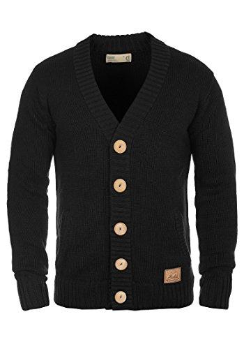 !Solid Payton Herren Strickjacke Cardigan Grobstrick Winter Pullover mit V-Ausschnitt, Größe:L, Farbe:Black (9000)
