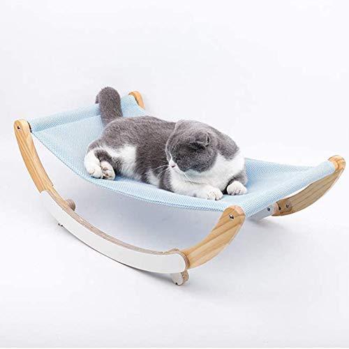 Jeseca Hamaca de Madera para Gatos, Mecedora para Mascotas pequeñas, Antideslizante, ventilación circulante, Auto Entretenimiento para Gatos, fácil de Montar, Azul (Color : Blue)