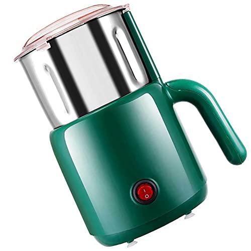 LESIXW Multifunktionale elektrische Kaffeemühle High-Power Edelstahl Multi-Protection Küchenbüro Mühle,Grün