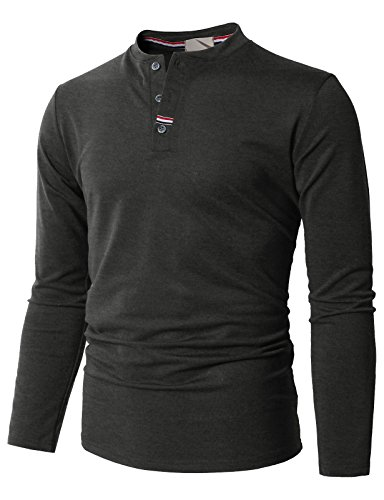 H2H Men's Casual Long Henley Shirts Long Sleeve Fashion T-Shirt Charcoal US L/Asia XL (KMTTL0466)