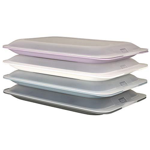 K&G Hochwertige Aufschnitt-Boxen 4er Set Colours by meberg platzsparend stapelbar Stapelboxen Vorratsdosen-Set Aufschnitt mit integrierter Servierplatte Frischhaltedosen Kühlschrank