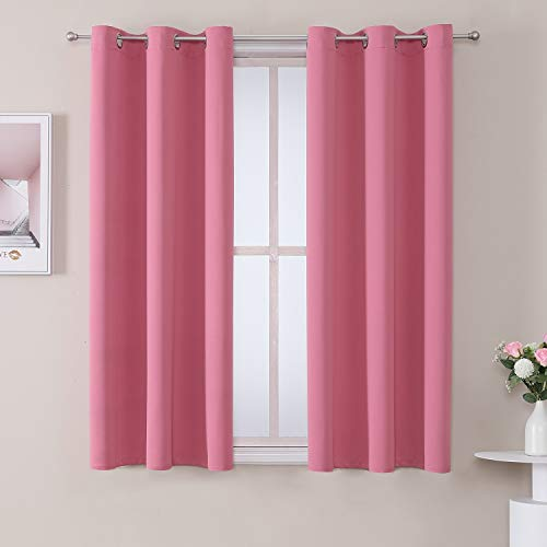 ChrisDowa Grommet Room Darkening Curtains for Bedroom and Living Room - 2 Panels Set Thermal Insulated Blackout Curtains (Pink, 42 x 63 Inch)