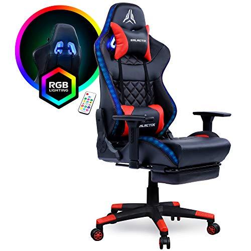 Dual RGB Lighting Gaming Chair Ergonomic Computer Gaming Chair with Lumbar Support Gaming Chair with Footrest LED Gaming Chair for Adults Gamer Chair Black/Grey