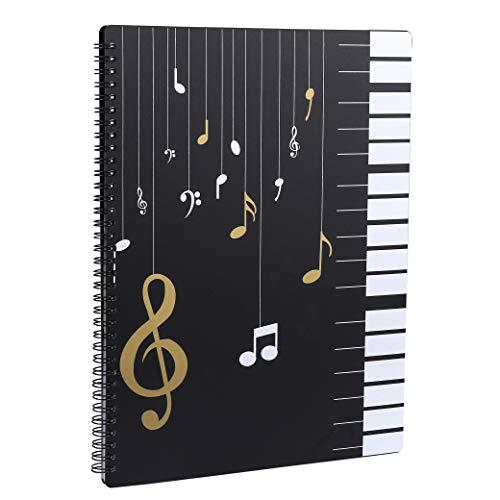Notenmappe für Notenblätter beim Spielen A4 Größe Papier Dokumente Halter Aufbewahrung 30 Taschen Clef, Musik Tabelle Datei Ordner, Kunststoff Konzert-Chorfolder für Musiker und Band Music Note
