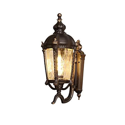 STERB Aplique de la Pared Exterior de la Linterna for el pórtico del Patio, con Pantalla de Vidrio Claro, Vidrio for casa Exterior Porche Patiowall lámpara