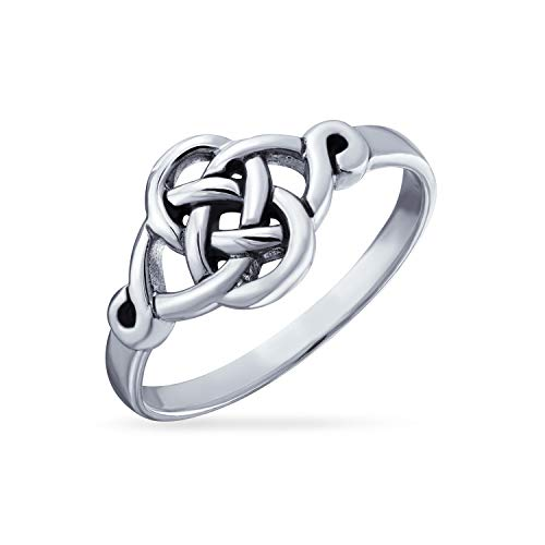BFF Infinity Knot Irish Celtic Band Ring For Teen For Women For Girlfriend Oxidized 925 Sterling Silver 1MM Band