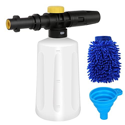 Kit de lanza de espuma de nieve - Dispensador de jabón de cañón de espuma ajustable para limpieza de automóviles Botella de 750ml, boquilla de chorro para hidrolimpiadora Karcher K2 K3 K4 K5 K6 K7