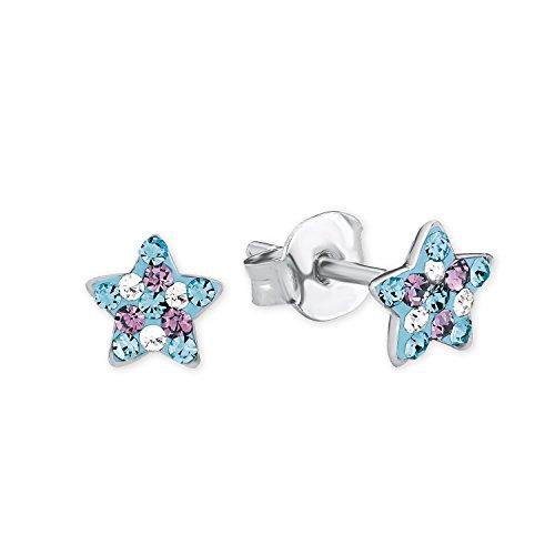 Prinzessin Lillifee Kinder-Ohrstecker Stern 925 Silber rhodiniert Kristall mehrfarbig - 2013175, Blau/Lila, onesize