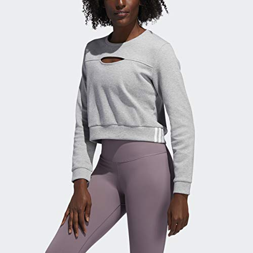 adidas Sudadera con Capucha para Mujer 3s Performance, Mujer, Capucha, GLN55, Gris Medio Jaspeado/Blanco, S