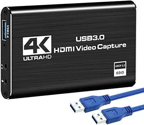 DIGITNOW! Scheda Registrazione Video HDMI, 4K dispositivo di acquisizione video HDMI USB 3.0, Full HD 1080P per la registrazione di giochi, trasmissione in streaming live