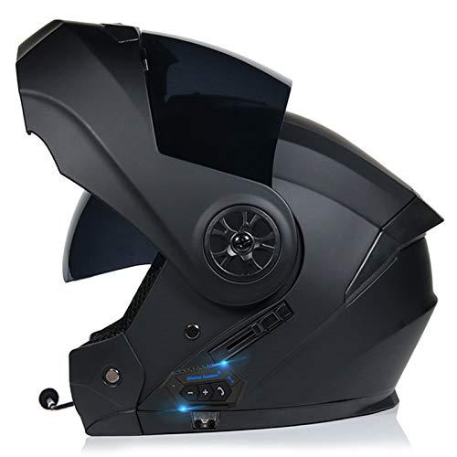 ZLYJ Casco Moto Integrato Bluetooth, Modulare Flip Full Face Moto Casco Sole Scudo Visiera Antiappannamento ECE Certification Casco con Microfono Speaker D,M(57-58cm)