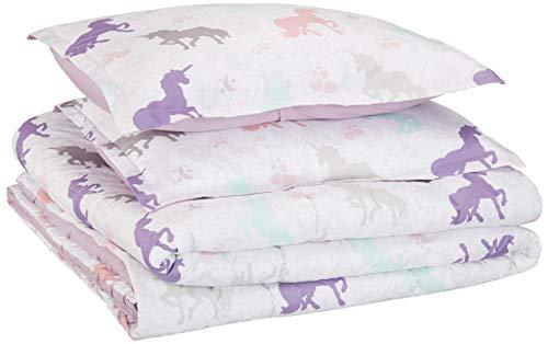 AmazonBasics Easy-Wash Microfiber Kid's Comforter and Pillow Sham Set - Full or Queen, Purple Unicorns