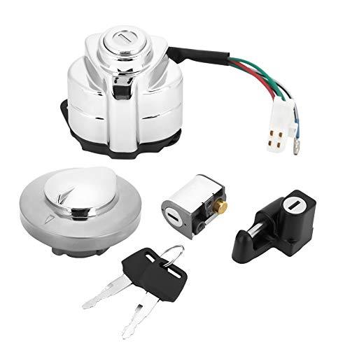 Cerradura de Encendido, Yctze Interruptor de Encendido Tapa de Gas Llave de Bloqueo de Dirección Repuesto de METAL ABS para VT600 Shadow 400750