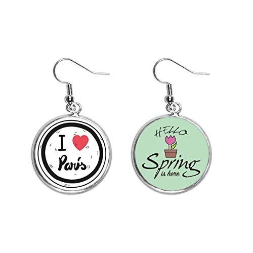 Pendientes de primavera con diseño de palabras de París I Love Paris