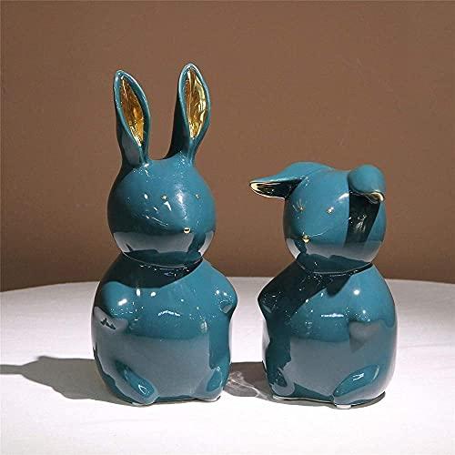 Juego de 2 estatuillas de Conejo pequeñas para niños pequeños, estatuas de jardín para decoración del hogar / Oficina, Regalos de Pascua de cerámica Naranja-Verde