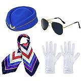Ritte 4 Piezas Accesorios de Disfraz de Azafata, Auxiliar de Vuelo Cosplay Accesorios, Azafata Sombrero Bufanda Guantes Gafas de Sol para Suministros de Cosplay, Mascarada