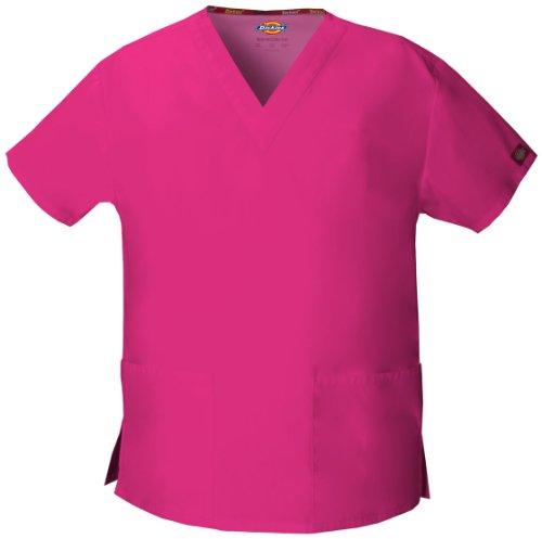 Dickies EDS Kasack mit 2 Taschen und V-Ausschnitt,XS - 5XL, OP Schlupfhemd(Hot Pink, L)