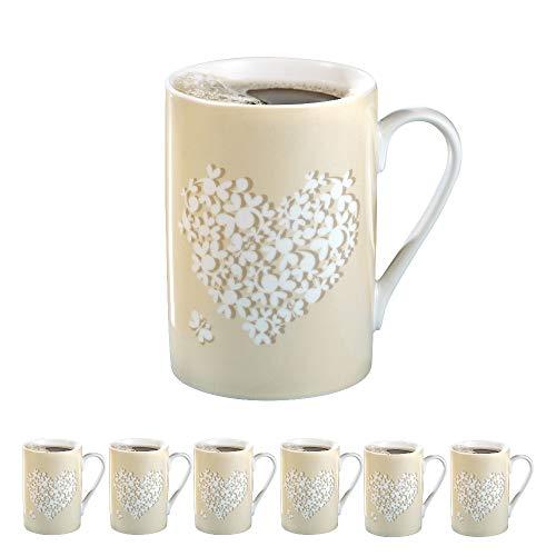 Kaffeebecher Fine, 6er-Set, Inhalt je 0,28 Liter, dünnwandiger, feiner Henkelbecher aus weißem Porzellan mit Druck.