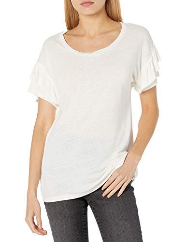 Goodthreads Linen Modal Jersey Tab Sleeve tee Camisa, Blanco, M