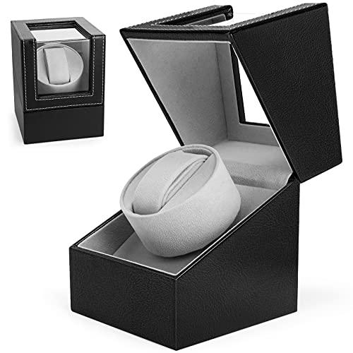 Gifort Automatische Uhrenbeweger Box, Single Uhrenbeweger PU Leder Uhrengehäuse mit leisem Motor, Batteriebetrieb oder Netzteil (Schwarz)