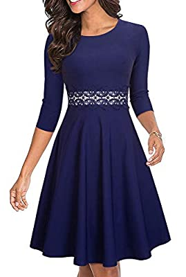 HOMEYEE Women's Sleeveless Cocktail A-Line Embroidery Party Summer Wedding Guest Dress A079 (10, L+Dark Blue-Fabric B)